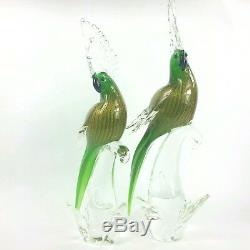 Murano Italian Art Glass Green Cockatoo Parrot Birds Set of 2