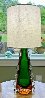 Murano Italian Art Glass Lamp, Sommerso Green, Amber to Clear, Glass 13HT