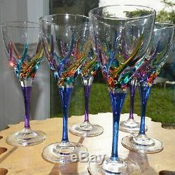 Murano Italy 8 oz Wine Glass Multi Color Italian Set 6
