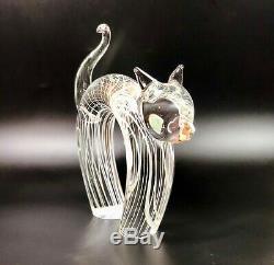 Murano Italy Licio Zanetti Signed Modernistic Clear Glass With White Stripes Cat