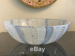 Murano Italy Venini Latticino Large Hand Blown Glass Bowl 9 3/4