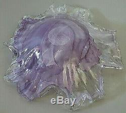 Murano Lavorazione Arte Glass Bowl Purple Swirl Italy Large Hand Blown Vintage