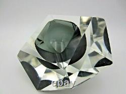 Murano Mandruzzato bluey grey abstract diamond faceted block cut bowl c1970s