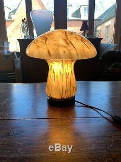 Murano Mushroom Table Lamp, Handblown Glass Vintage Italian Light