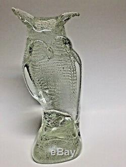 Murano Owl Blown Glass Bullicante Sculpture Signed Licio Zanetti