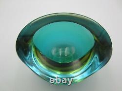 Murano Poli Seguso era green amber watery ice blue art glass triangle geode bowl