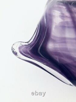 Murano Purple Glass Candy Dish Lavorazione Hand Blown Vintage Italy 15 x 16 x 5
