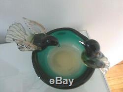 Murano Seguso Bird Bath Sommerso Glass Bowl with 2 Birds