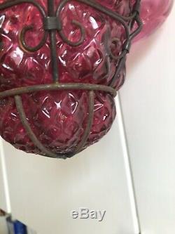 Murano Seguso Caged Lantern Light Vintage Pink Hand Blown