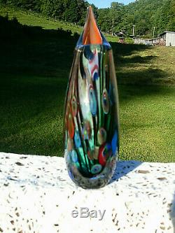 Murano Sommerso Hand Blown Burgundy/Blue Art Glass Vase 11H