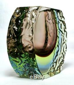 Murano Sommerso Uranium Glass Vase 3 Colour Mandruzzato c1960s