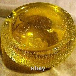 Murano Uranium Italian Art Glass Bullicante Bowl Mid-Century 4 in diameter