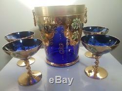 Murano Venetian Enamelled Gilt Champagne ice bucket and four glasses cobalt blue