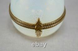 Murano Venetian Opaline & Gold Glass Hand Blown Egg Shape Trinket Box