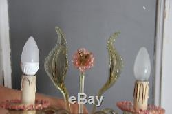 Murano Venetian hand blown art glass Wall light sconce pink amber mid century