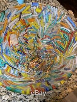 Murano Vintage Confetti Art Glass Vase Multicolored