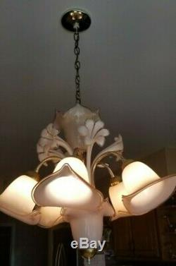 Murano Vintage Handblown Glass Italian 5 Light Chandelier