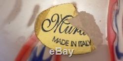 Murano White Millefiori Hand Blown Art Glass Vase Italy Italian vintage heavy