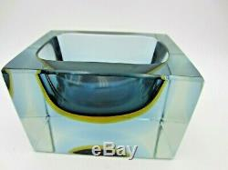 Murano blue amber blue in clear glass heavy faceted block cut bowl V HEAVY RARE