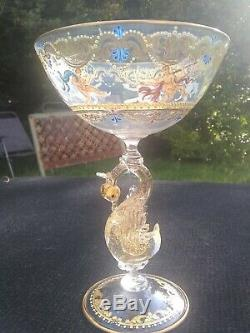 Murano glass goblet Venetian SALVIATI style nudes swan stem gilded cabinet item