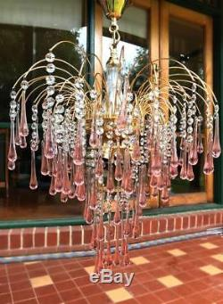 Murano glass pink hand blown glass chandelier