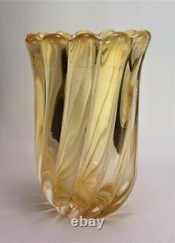 Murano glass vase Archimede Seguso Signed Gold fleck