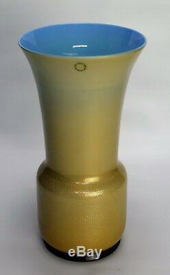 Murano glass vase Venini Tomaso Buzzi Blue with Gold Fleck Signed 13