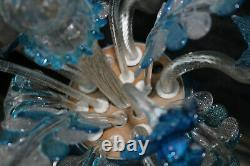 Murano hand blown blue clear glass chandelier lamp italian 1970