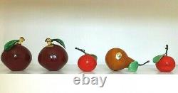 Murano hand blown glass coloured fruit 2 Cherry plums, 2 Satsuma & Pear