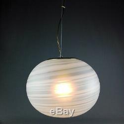 Murano hand-blown swirled glass and brass 60s pendant lamp