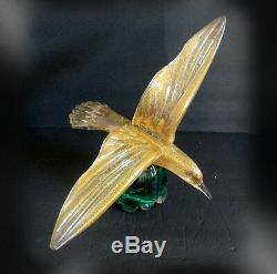 Murano large art glass large seagull bird with gold dust