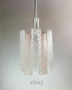 Murano one light hand-blown 60s glass and chrome chandelier. Mid Century lighting