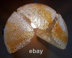 Murano rare big hand-blown 60s glass & chrome chandelier