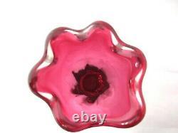 Murano sommerso/Chribska dusky pink tall & heavy lobed art glass vase
