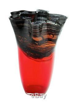 New 9 Hand Blown Glass Art Vase Red Black Handkerchief Ruffle Fluted Decorative