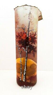 Omaggio Hand Blown Murano Glass Vase Painted & Signed Italy Vintage