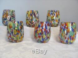 Original Murano Glass Carnevale drinking glasses brand new set of six