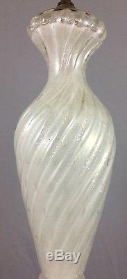 Original VENETIAN Vintage MURANO Swirled Hand Blown GLASS LAMP Silver Flakes