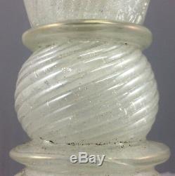 Original VENETIAN Vintage MURANO Swirled Hand Blown GLASS LAMP Silver Flakes 50s