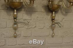 PAIR BAROVIER TOSO Murano hand blown wall lights amber glass