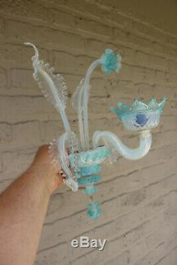 PAIR Murano hand blown glass Venetian light blue Wall lights sconces 1970