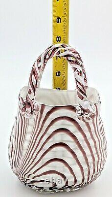 PAIR Vintage Murano Studio Art Glass Hand Blown Purse Handbag x2 Pink Maroon
