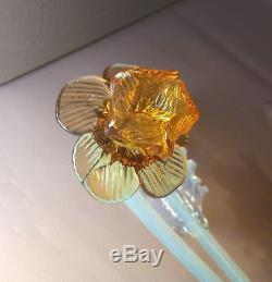 PAIR mid century 1970 Murano hand blown Glass WALL lights sconces orange