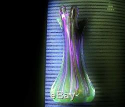 PHENOMENAL Plum MURANO Glass VASE Vaseline URANIUM Glows in BLACK LIGHT Graceful