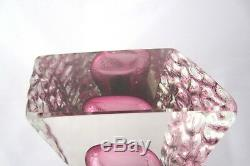 PINK textured glass block vase vintage Murano Mandruzzato 60s FINE EXAMPLE