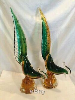 Pair Archimede Seguso Murano Art Glass Pheasant Sculptures 16t Mid C Mod PERFCT