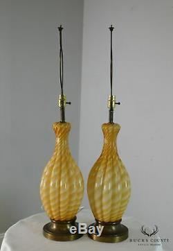 Pair Hand Blown Murano Table Lamps Lobed Gourd Shape, Amber/White Twist Glass