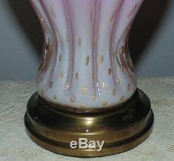Pair Italian Murano Glass Table Lamps Pink with Gold Flecks Venetian Mid Century