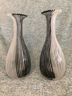 Pair MCM Venini Murano Italy Art Glass Vase TESSUTO Carlo Scarpa White/Black