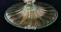 Pair Murano Glass Green & Gold Dolphin Candlestick Holders, Salviati Toso